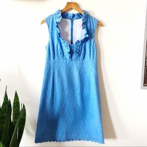 Lilly Pulitzer blue cotton eyelet lace dress